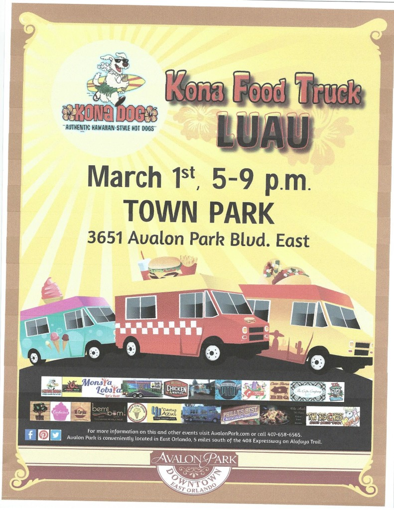 Avalon Park Kona Food Truck Luau @ Town Park   Orlando   Florida   United States